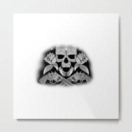 Skull and Revolvers Metal Print