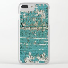 Rustic Wood Turquiose Paint Weathered Clear iPhone Case