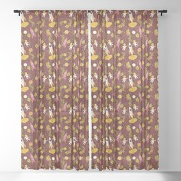 Astronauts in Space with Florals - Maroon Sheer Curtain