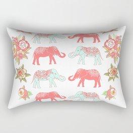 Pink and blue elephants Rectangular Pillow