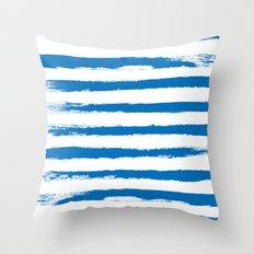 Nautical Blue STRIPES Handpainted Brushstrokes Throw Pillow