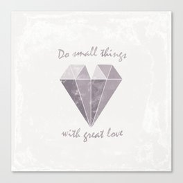 Do small things with great love - Purple & Beige Canvas Print