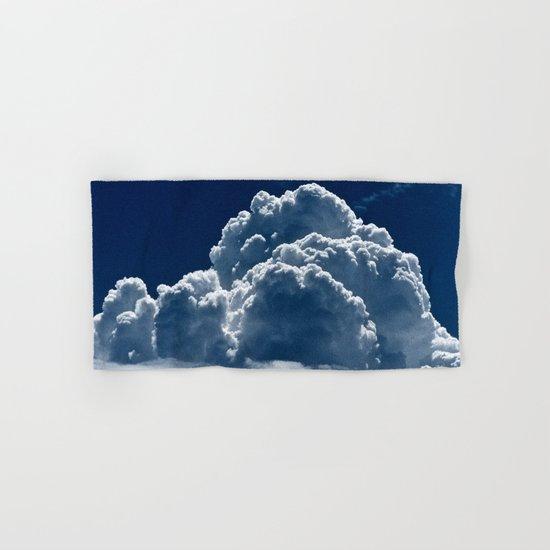Puffy Cumulus clouds on Deep Blue Sky Hand & Bath Towel
