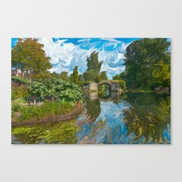 Warwick Castle Bridge River And Trees Canvas Print