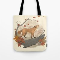 rabbit Tote Bags featuring Fox and rabbit by Laura Graves