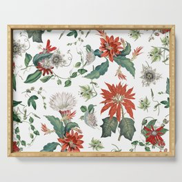 Festive Red Green Botanical Poinsettia Cactus Floral Pattern Serving Tray