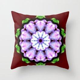 Purple White Flower on Burgundy Throw Pillow