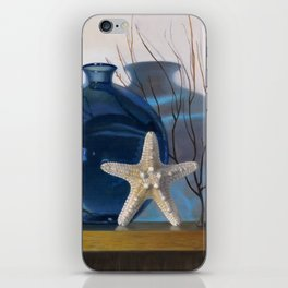 Still life with a blue vase and a starfish iPhone Skin