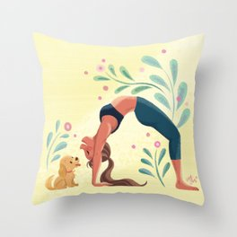 Yoga with Puppy Throw Pillow