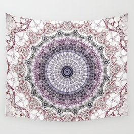 Bohemian White Detailed Mandala Design Wall Tapestry