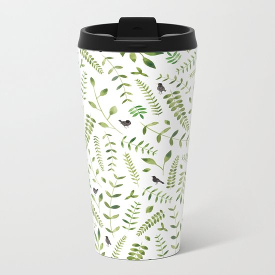 The Birds and the Leaves Metal Travel Mug