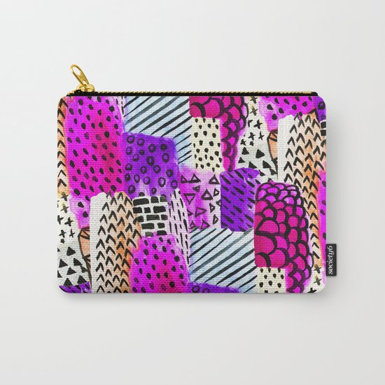 Modern pink watercolor abstract geometric hand painted pattern Carry-All Pouch