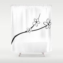 Black & White Noir Japanese Cherry Blossom Flower Art Shower Curtain