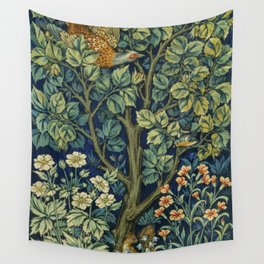 Vintage William Morris pattern pheasant and squirrel Wall Tapestry