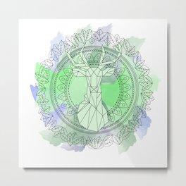 Deer mandala watercolor Metal Print