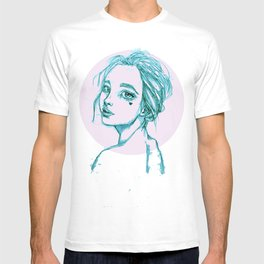 Blue Girl in a Pink Circle T-shirt