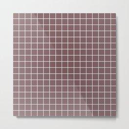 Deep taupe - violet color - White Lines Grid Pattern Metal Print