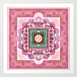 Lovely Love Romantic Vintage Boho Mandala Stamp Print Art Print