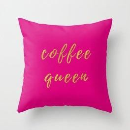 Coffee Queen-Pink Throw Pillow
