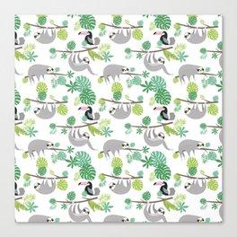 Happy Sloth Jungle Party Canvas Print