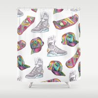 hologram Shower Curtains featuring watercolor back to the future 2 by Sarah Brust