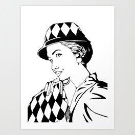 Casual 50's... (blak and white version) Art Print