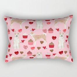 Akita valentines day cupcakes dog breed hearts pet portrait akitas pet friendly Rectangular Pillow