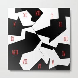 crazy clock-psychedelic,broken window,relativy,fun,black,white,red,crack,irregular,original,geometry Metal Print