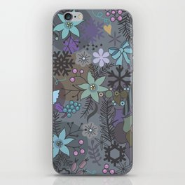 Colorful grey xmas pattern iPhone Skin