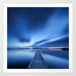 Jetty on a lake at dawn, near Amsterdam The Netherlands Art Print