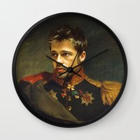 replaceface Wall Clocks featuring Brad Pitt - replaceface by replaceface