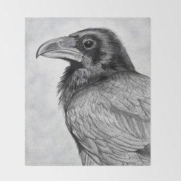 Corvus Corax (The Common Raven) Throw Blanket