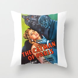 The Catman of Paris, Vintage Horror Movie theater Poster Throw Pillow