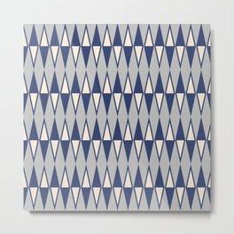 Mid Century Modern Diamond Pattern Blue and Gray 232 Metal Print