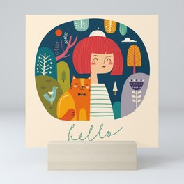Girl with Cat Mini Art Print