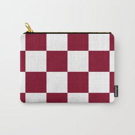 Large Checkered - White and Burgundy Red Carry-All Pouch