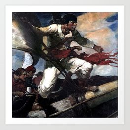 """Pirate Attack"" by Frank E Schoonover Art Print"