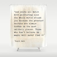 roald dahl Shower Curtains featuring Glittering Eyes by ShadeTree Photography
