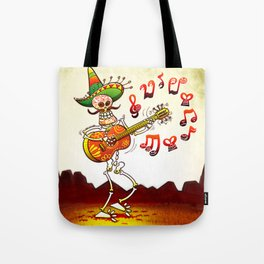 Mexican Skeleton Playing Guitar Tote Bag