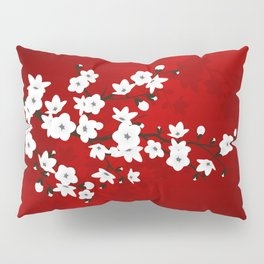 Red Black And White Cherry Blossoms Pillow Sham