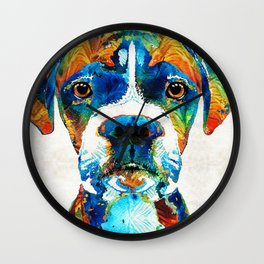 Colorful Boxer Dog Art By Sharon Cummings Wall Clock