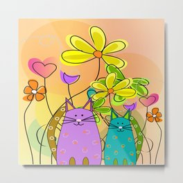 Whimsical Cats and Flowers II Metal Print