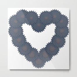 Heart and flowers. Denim photocollage Metal Print