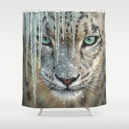 Snow Leopard - Blue Ice Shower Curtain