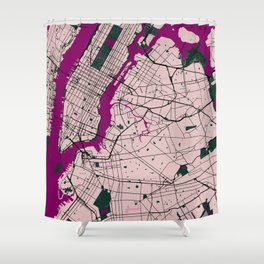 New York Street Map // Violet Theme Shower Curtain