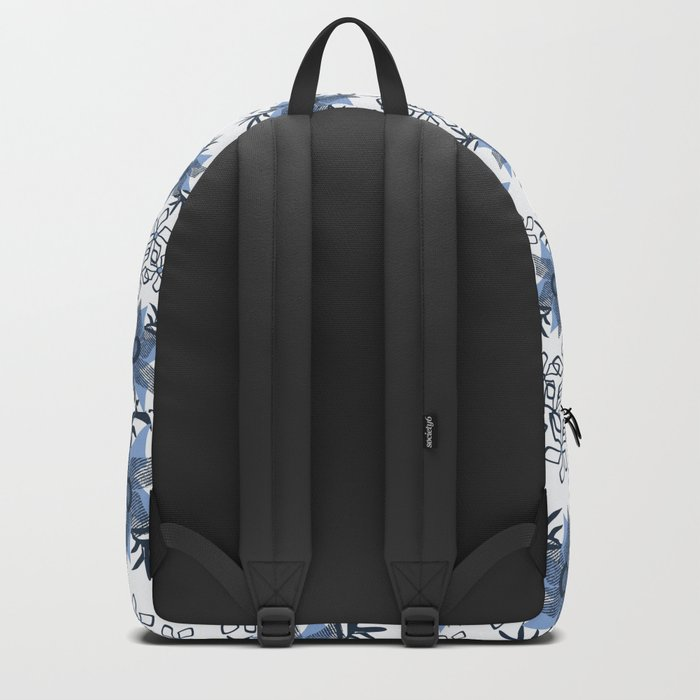 Blue flowers on a white background. Backpack