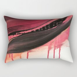 Entangled [3]: a vibrant, colorful abstract mixed-media piece in reds, pinks, black and white Rectangular Pillow