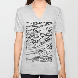 music note sign pattern abstract background in black and white Unisex V-Neck