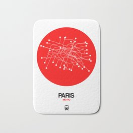 Paris Red Subway Map Bath Mat
