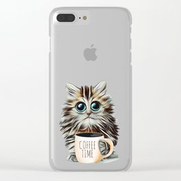 cat coffee time Clear iPhone Case